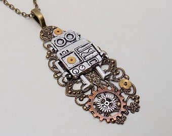 Steampunk robot necklace.