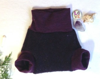 Small Eggplant Purple Upcycled Wool Nighttime Soaker Diaper Cover / Violet Speckles / Gifts Under 25 /Night Diaper Cover