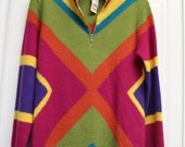 Reserved!!  Vintage Mendocino Sweater, Tunic - 100% Shetland wool -  bright color block wool sweater - with tags - MEDIUM