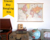 Pin Your World Travels Map on Hanging Cork Kit - Paper Anniversary Wedding Gift for the Wanderlust Explorers