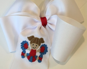 Embroidered Cheerleader Hair Bow Ponytail Football School Team College