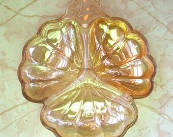 vintage divided pressed glass dish champagne tinted