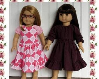 "18 inch doll clothing pattern  Gwen Dress short and 3/4 sleeves 18"" doll clothes Modern Sewing Pattern  PDF"