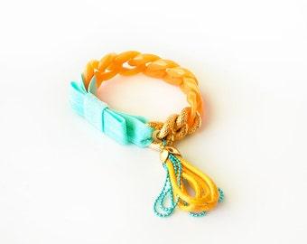 Funky Chunky Chain Bracelet - acrylic chain, aluminum chain, elastic ribbon bow, tiny handmade tassel - marigold and aqua