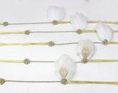 Bridal Party Hair Accessory Set, 5 Ivory Peacock Feather Fascinators , Gold Headband, Great Gatsby Headpiece, Wedding Headpiece