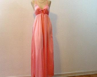 80s Lady Cameo Brilliant Peach Gown S/M