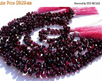 55% OFF SALE 1/2 Strand -  Finest Quality Genuine Garnet Faceted Tear Drop  Briolettes Size 6x5 - 9x5mm approx