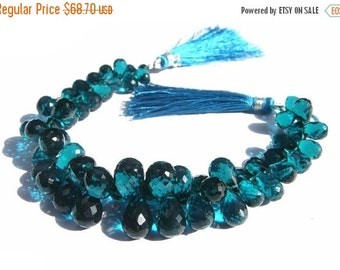 55% OFF SALE 1/2 Strand 28Pcs AAA Teal Blue Quartz Faceted Teardrop Briolettes Size 8x6 - 11x8mm approx