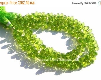 55% OFF SALE 7.5 inches - Finest Quality Genuine Peridot Micro Faceted Tear Drop Briolettes Size - 5.5x4 - 7x5mm