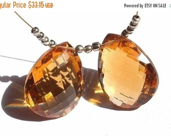 55% OFF SALE Matched Pair of AAA Madeira Quartz Faceted Pears Size 20x15mm approx