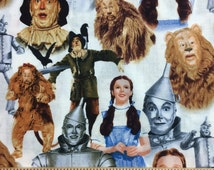 Wizard of Oz Fabric By the Yard, Half Yard, Quarter Yard or Fat Quarter Tin Man Lion Scarecrow Dorothy Fabric Cotton Quilting Fabric f/t2-26