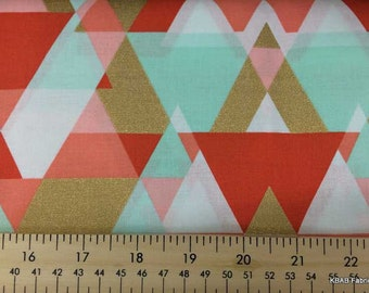 Coral Mint Valance Pyramid Gold Metallic Triangle Custom Handcrafted Curtain Valance NEW a4/7