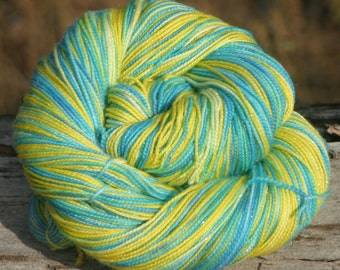 Handpainted Glimmer Sock Yarn - Superwash Merino Wool, Nylon, Gold Stellina - Parakeet