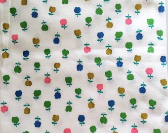 Light Weight Canvas Fabric Colorful Trees Flowers Destash