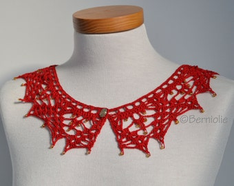 Lace crochet collar, Red Cotton, P413