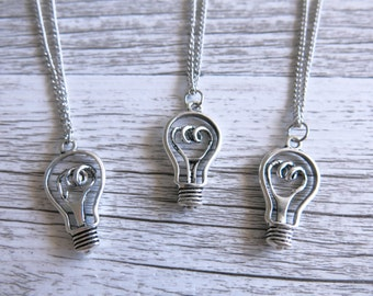 Silver Light Bulb Great Idea Necklace