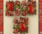 Beads Flower, Butterfly, Ladybug ~ RED Filigree Designer Style ~ 2 Hole Sliders QTY 3