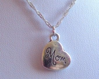Mom Necklace, Mom Pendant, Engraved Mom Necklacew