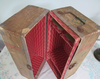Vintage 1930s Doll Trunk Storage Chest Cardboard Shelves