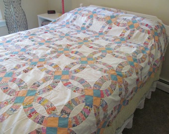 "Vintage Quilt Top 1930s Feed Sack Fabrics Wedding Ring 8 SPI 79"" x 90"""