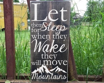 Let Them Sleep for When They Wake They Will - Wood Sign - Home Decor - Signs - Wall Typography Quote Saying Distressed Wooden Sign S147