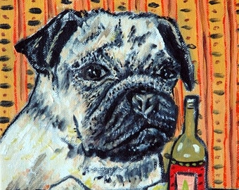 ON SALE Pug, dog art, pug PRINT, beer , bar, fawn pug, dog Print, pug art