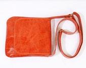 Pumpkin Orange Leather Crossbody Bag