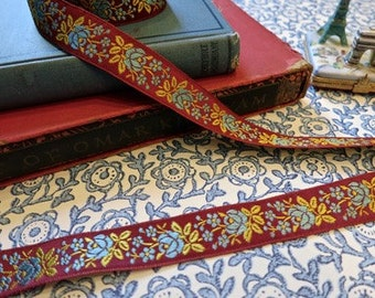 Vintage French Ribbon in Burgundy Red with Blue and Yellow Flowers
