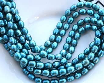 Turquoise Freshwater 8x5mm Pearl Strand