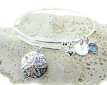 Sand Dollar Adjustable Bangle Bracelet - Personalized Initial charms and Birthstones (BN020).