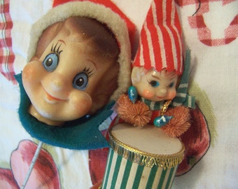two vintage elf holiday decorations