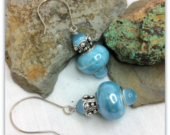 Baby Blue Euro Bead Hand Crafted Sterling Silver Earrings Casual or Dressy Blue Cat's Eye Earrings
