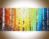 "Autumn Birch Rainbow color set of 3 painting 54""Colorful modern art red yellow orange blue green wall art Oil landscap canvas art wall decor"