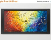 """Original Birds art Giclee  prints acrylic painting fine art wall decor wall art """"Over the Rainbow"""" by QIQIGallery"""