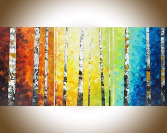 "Autumn Birch Rainbow color set of 3 painting 54""Colorful modern art red yellow orange blue green wall art Oil landscap canvas art wall decor"