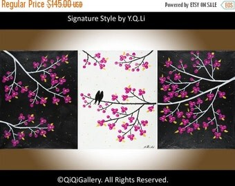 """Painting Romantic birds art Wall decor wall art Acrylic painting Impasto Palette Knife wall hangings canvas art """"Rosy Dream"""" by qiqigallery"""