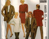 90s Ensemble Top Skirt Jacket Pants Vintage Sewing Pattern Pullover Top Semi Fitted Skirt Pull On Pants Button Vent Back Jacket Plus Size
