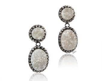 Earrings in Iridescent Drusy | White Aura Druzy Earrings | Women's Earrings | Women's Jewelry | White Druzy Stone Statement Earrings |
