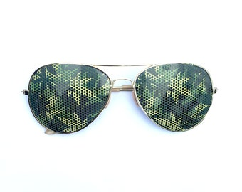 Cannabis Camouflage 420 Weed Graphic Aviator Festival Sunglasses