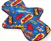 """Reusable Cloth Menstrual pad-  9 inch HEAVY flow -bamboo/organic cotton core- Windpro - quilter's cotton top """"Comic Book"""""""