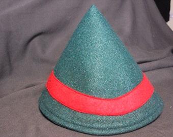 Green Elf's hat--felt hat with glitter felt and a red felt band--