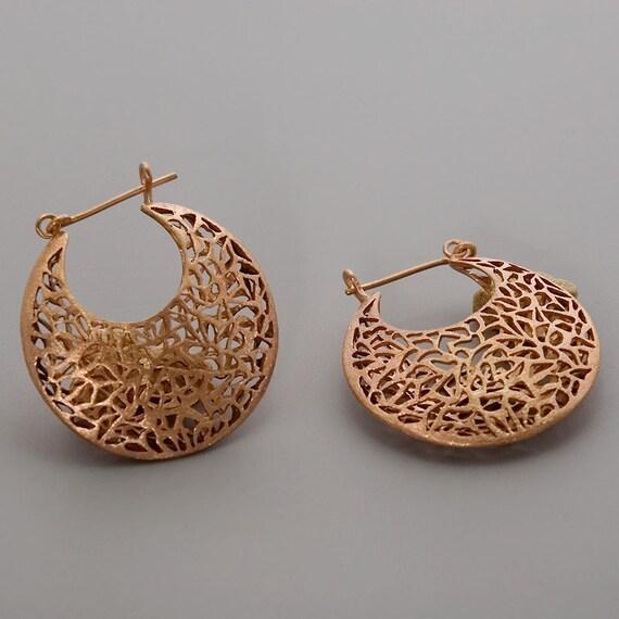 Rose Gold Earrings, Moroccan Earrings, Filigree Earrings, Large Boho Earrings, Statement Hoop Earrings, Gift For Mom, Bohemian Earrings