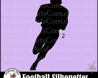 Football Silhouettes pose 2 - with 1 Vector Vinyl Ready Images SVG EPS and PNG file formats Quarterback{Instant Download}
