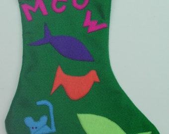 Cat - MEOW- Whimsical Colorful Pet Christmas Stocking - Handmade