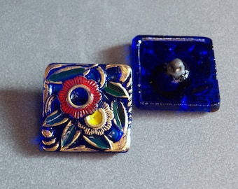Cobalt Blue with Gold, Green, Red & Yellow Square Glass Button - Floral Design -  25mm (1)