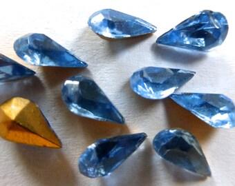 Vintage Czech Sapphire 8x4.5mm Faceted Pear Teardrop Glass Stones (10)