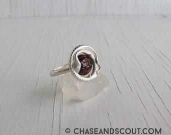 Garnet Snake Ring, Ouroboros lovers knot, Garnet Ring, Sterling Silver, Victorian Snake Ring, January Birthstone