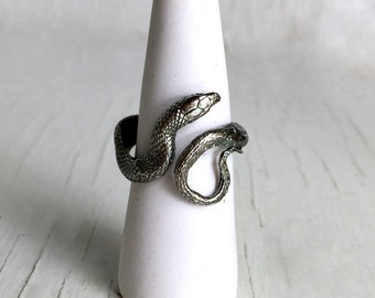 Silver Snake Ring, Sterling Silver, Texas ribbon snake handmade entirely in my Austin, Tx Studio
