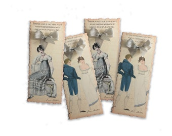 Jane Austen Bookmarks Gift Set, Set of Six, Book Club Favor, Pride and Prejudice, Pemberley Party Favor Bookmarks, Literature Bookmark