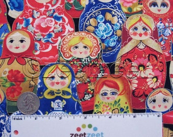 RUSSIAN NESTING DOLLS Red Blue Folkloric Cotton Quilt Fabric with Gold Metallic Kiev Ukrainianby the Yard, Half Yard, or Fat Quarter Fq